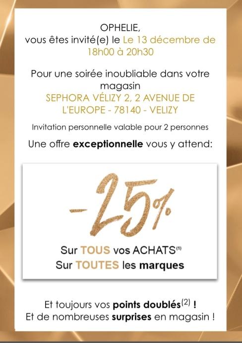 invitation soirée sephora gold